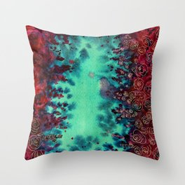 Scarlet Rose Watercolor Pattern Throw Pillow