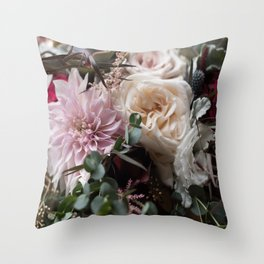 Large floral bouquet - Dahlia and Rose I Throw Pillow