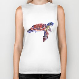 Sea Turtle Children Illustration, kids wall art Biker Tank