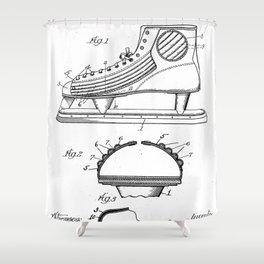 Ice Hockey Skates Patent - Ice Skates Art - Black And White Shower Curtain