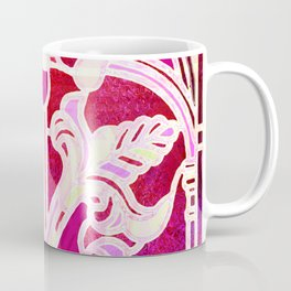 Pink Purple and Red Art Nouveau Batik Pattern Coffee Mug