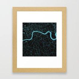 Black on Turquoise London Street Map Framed Art Print