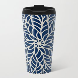 Modern navy blue ivory hand painted floral mandala Metal Travel Mug