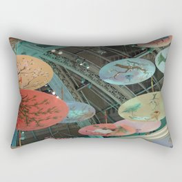 Flying Japanese Umbrellas Rectangular Pillow