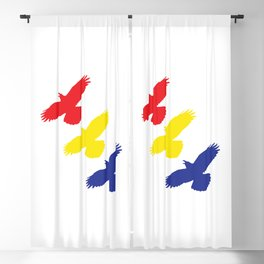 Flying Ravens in Color Blackout Curtain