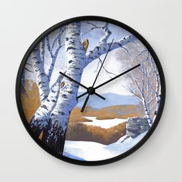 Winter birch valley Wall Clock