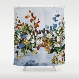 Autumn Flowers and Leaves Bouquet Shower Curtain