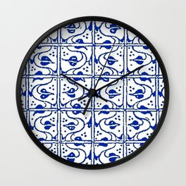 Vintage Leaf and Vines Sapphire Blue Wall Clock