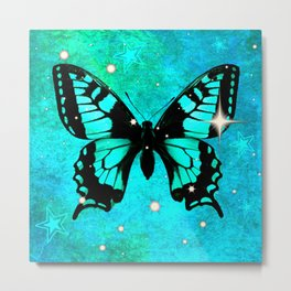 Bluish Green Butterfly with Stars Metal Print