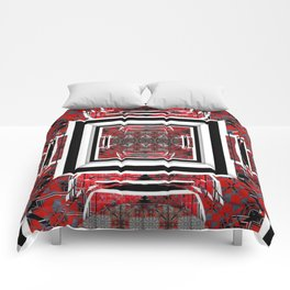 NUMBER 221 RED BLACK GRAY WHITE PATTERN Comforters