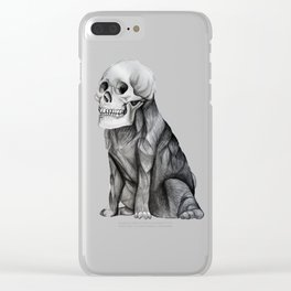 skullpug // A brutal pug wearing a human skull made in pencil Clear iPhone Case