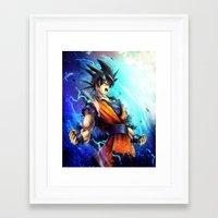 goku Framed Art Prints featuring Goku by Vincent Vernacatola