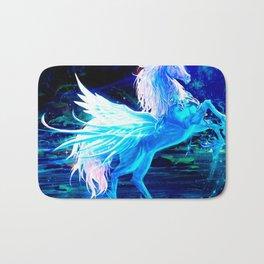 Unicorn Forest Stars Cristal Blue Bath Mat