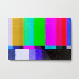 A distorted tv transmission or VHS tape, a badly eaten noisy signal of SMPTE color bars (a television screen test pattern). Vintage photo. Retro background. Metal Print