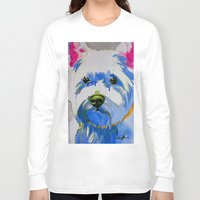 westie Long Sleeve T-shirts featuring Westie Pop Art Dog Art Portrait  by Karren Garces Pet Art