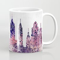 new york skyline Mugs featuring New York Skyline + Map by Map Map Maps