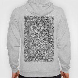 Floral Pattern Tapestry V// 18th Century Black and White Gray Tones Minimalist Flowery Design Hoody