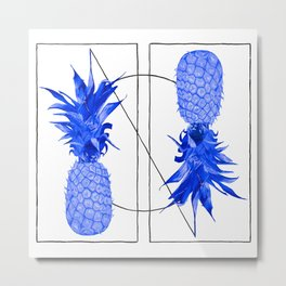 Blue Pineapples design Metal Print