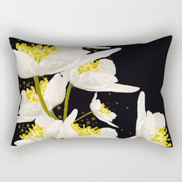 White Flowers On A Black Background #decor #buyart #society6 Rectangular Pillow