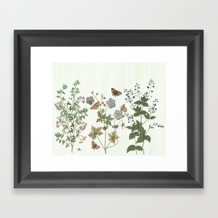 The fragility of living - botanical illustration Gerahmter Kunstdruck