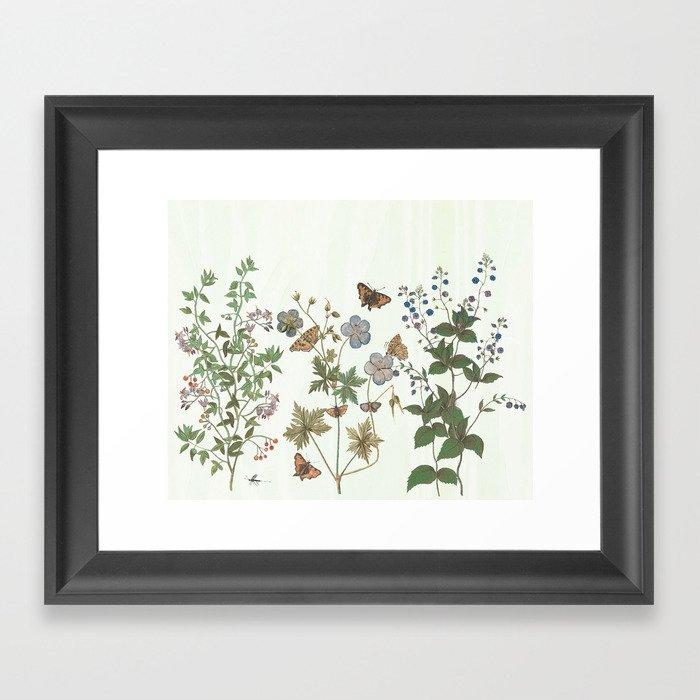 The fragility of living - botanical illustration Gerahmter Kunstdruck