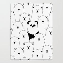 Polar bear and panda cartoon Poster