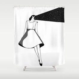 Listen to her space Shower Curtain