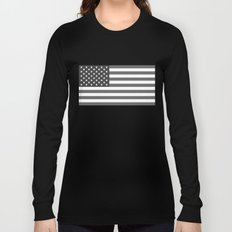 American flag in Gray scale Long Sleeve T-shirt