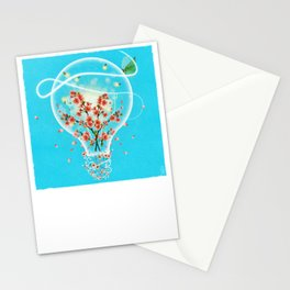 Bright Idea Flowers, Lightning Bugs and Moth in Light Bulb Surreal Art Stationery Cards