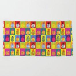 Modern Pop Art Pineapple Fruit on Colourful Squares Beach Towel