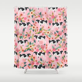 Holstein cattle farm animal cow floral Shower Curtain