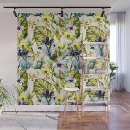Flowering tropical jungle pattern Wall Mural