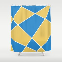 Geometric abstract - orange and blue. Shower Curtain