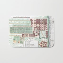 Vintage Map of Cape Town South Africa (1750) Bath Mat