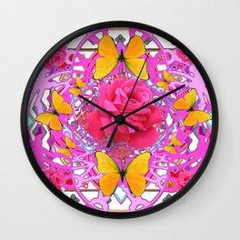 PINK ROSES YELLOW BUTTERFLIES  MODERN PINK GARDEN Wall Clock