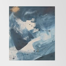 Against the Current: A bold, minimal abstract acrylic piece in blue, white and gold Throw Blanket