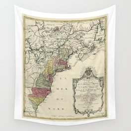 Colonial America Map by Matthaus Lotter (1776) Wall Tapestry