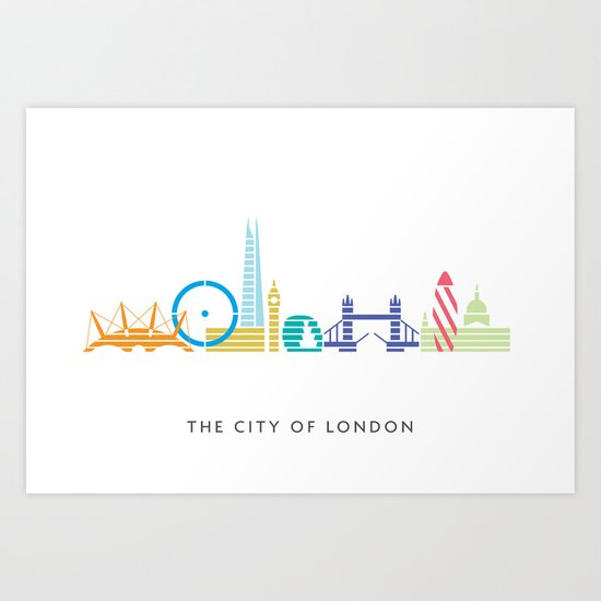 London Skyline White Art Print