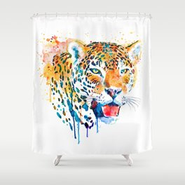 Jaguar Head Portrait Shower Curtain