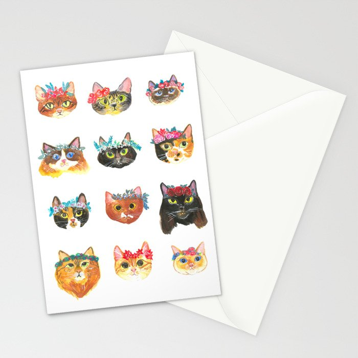 Cats with Flowers Crowns Stationery Cards