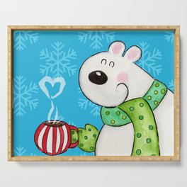 Hot Cocoa Polar Bear Serving Tray