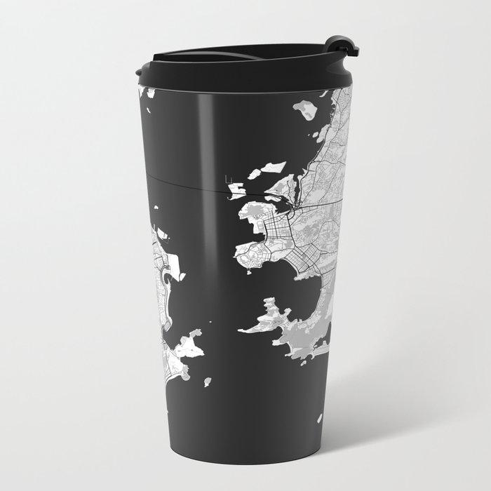 Rio de Janeiro City Map Gray Metal Travel Mug