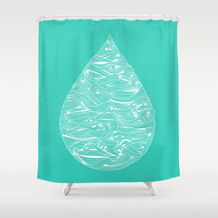 Water Drop White On Turquoise Shower Curtain By Catcoq