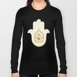 Hamsa Hand - Gold Long Sleeve T-shirt