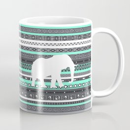 Tiffany Aztec White Elephant Pattern Design Coffee Mug