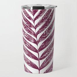 Simple Botanical Design in Dark Plum Travel Mug