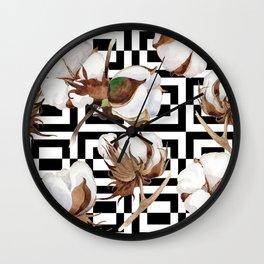 Cotton Flower Pattern 09 Wall Clock
