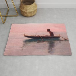 Man in his outrigger wa'a, Pink Sunset Hanauma Hawaiian landscape painting by D. Howard Hitchcock Rug