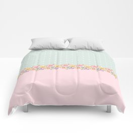 Vintage green pastel pink yellow floral polka dots Comforters