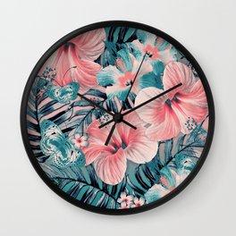 Vintage Jade Coral Aloha Wall Clock